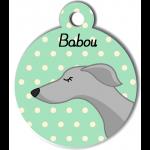 Médaille personnalisée vert chien fin gris