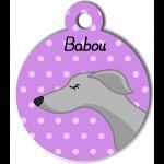 Médaille personnalisée violet chien fin gris