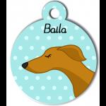 Médaille personnalisée bleu chien fin caramel