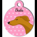 Médaille personnalisée rose chien fin caramel