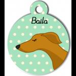 Médaille personnalisée vert chien fin caramel