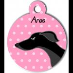 Médaille personnalisée rose chien fin noir