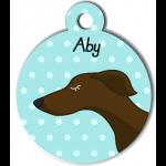 Médaille personnalisée bleu chien fin marron foncé