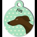 Médaille personnalisée vert chien fin marron foncé
