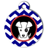 Médaille personnalisée chien Doggy zigzag bleu Natoo
