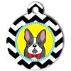 Médaille personnalisée chien Doggy zigzag noir bulldog