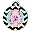 Médaille personnalisée chien Doggy zigzag noir caniche rose