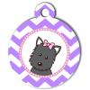 Médaille personnalisée chien Doggy zigzag violet Atoo gris