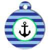 Médaille personnalisée chien Marine ancre rayures bleues