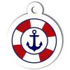 Médaille personnalisée chien Marine ancre bouée blanche