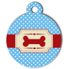 Médaille personnalisée chien Fashion os pois bleue