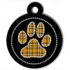 Médaille personnalisée chien Patoune fashion carreaux cerclée jaune
