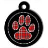 Médaille personnalisée chien Patoune fashion carreaux cerclée rouge