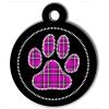 Médaille personnalisée chien Patoune fashion carreaux cerclée rose