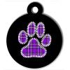 Médaille personnalisée chien Patoune fashion carreaux violette