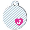 Médaille personnalisée chien Pastel rayée grise