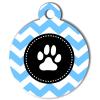 Médaille personnalisée chien Patoune fashion zigzag bleue ciel
