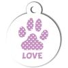 Médaille personnalisée chien Patoune simple pois mauve