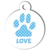 Médaille personnalisée chien Patoune simple pois bleu