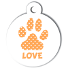 Médaille personnalisée chien Patoune simple pois orange