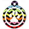 Médaille personnalisée chien Patoune fashion zigzag multicolore blanche cerclée
