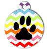 Médaille personnalisée chien Patoune fashion zigzag multicolore noire