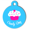 Médaille personnalisée chien collection gourmandise cupcake bleu candy