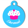 Médaille personnalisée chien collection gourmandise cupcake bleu