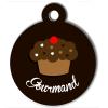 Médaille personnalisée chien collection Gourmandise cupcake marron
