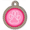 Médaille personnalisée chien Patoune fashion rose pois