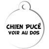 Médaille personnalisée chien pucé blanche