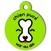 Médaille personnalisée chien pucé verte