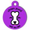 Médaille personnalisée chien pucé violette