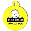 Médaille personnalisée chien On me cherche Atoo jaune