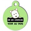 Médaille personnalisée chien On me cherche Atoo verte