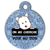 Médaille personnalisée chien On me cherche Atoo baroque bleue
