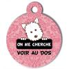 Médaille personnalisée chien On me cherche Atoo baroque rose pale