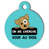 Médaille personnalisée chien On me cherche Itoo turquoise
