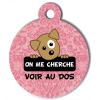 Médaille personnalisée chien On me cherche Itoo baroque rose pale