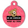 Médaille personnalisée chien On me cherche Itoo baroque rose