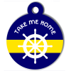Médaille personnalisée chien Marine barre bleue