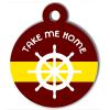 Médaille personnalisée chien Marine barre bordeau