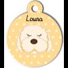 Médaille personnalisée chien frisé blanc