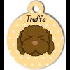 Médaille personnalisée chien frisé marron