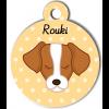 Médaille personnalisée chien marron et blanc