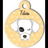Médaille personnalisée chien blanc avec tâche noire à l'oeil