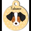 Médaille personnalisée chien marron, noir et blanc
