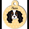 Médaille personnalisée pour chien blanc, noir et marron clair