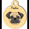 Médaille personnalisée pour chien crème et noir oreilles tombantes