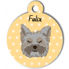 Médaille personnalisée chien gris poils mi-longs